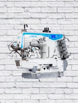 JACK-K5 - высокоскоростная 3-игольная 5-ниточная распошивальная машина с цилиндрической платформой со встроенным сервомотором